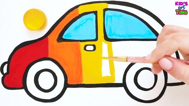 اموزش نقاشی برای کودکان (ماشین رنگین کمانی)