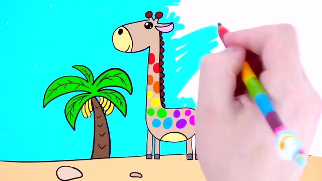 اموزش نقاشی و نحوه کشیدن و رنگ امیزی زرافه برای کودکان