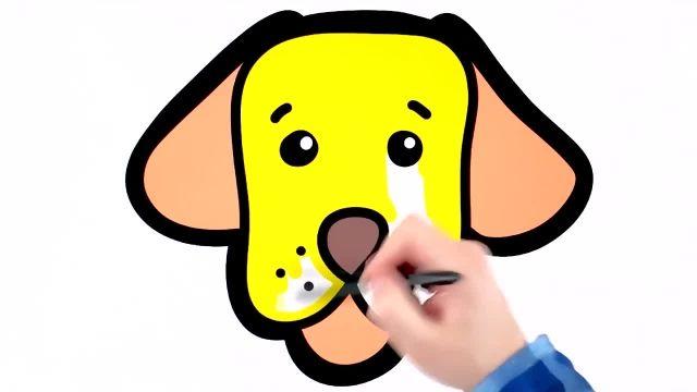 اموزش گام به گام کشیدن سگ برای کودکان به همراه رنگ امیزی