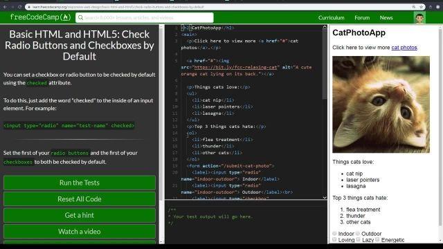 آموزش کامل مبانی html5 - بررسی دکمه های رادیو و CHECKBOXES به صورت پیش فرض