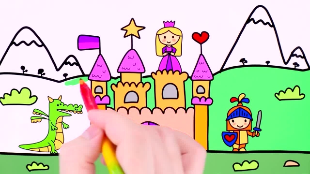 آموزش نقاشی و رنگ امیزی برای کودکان ( قلعه پرنسس )