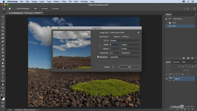 آموزش فتوشاپ - کراپ و تغییر حجم عکس در یک مرحله