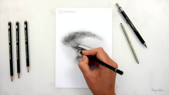 اموزش طراحی چشم از نیمرخ با مداد گرافیت