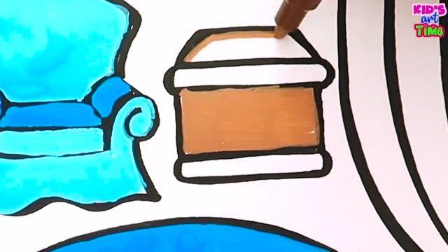 اموزش نقاشی و نحوه کشیدن ساختمان مدرسه و رنگ امیزی ان برای کودکان