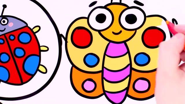 اموزش نقاشی و رنگ امیزی برای کودکان (کفشدوزک)