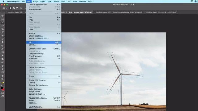 آموزش پیشرفته فتوشاپ - حذف اشیا با استفاده از  CONTENT AWARE FILL