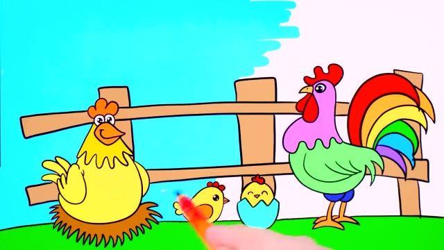 اموزش نقاشی برای کودکان (جوجه ها و روستا)