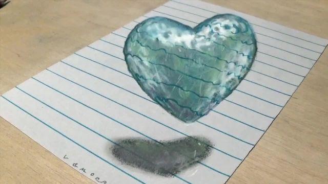 اموزش گام به گام نقاشی سه بعدی ( قلب شناور )