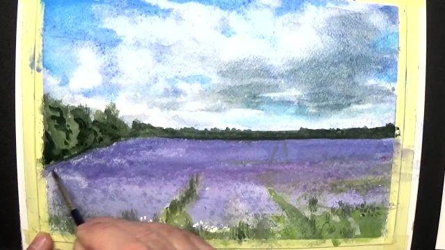 آموزش گام به گام نقاشی با آبرنگ برای مبتدیان (مزرعه بنفش)
