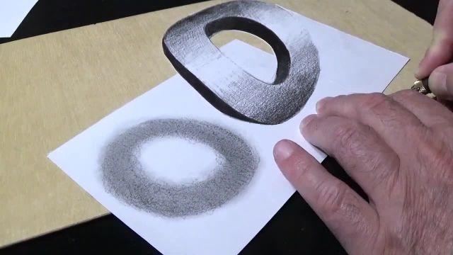 اموزش نقاشی سه بعدی ( حرف o )