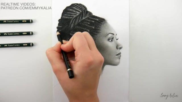 اموزش گام به گام طراحی چهره سیاه قلم ( نیمرخ زن )