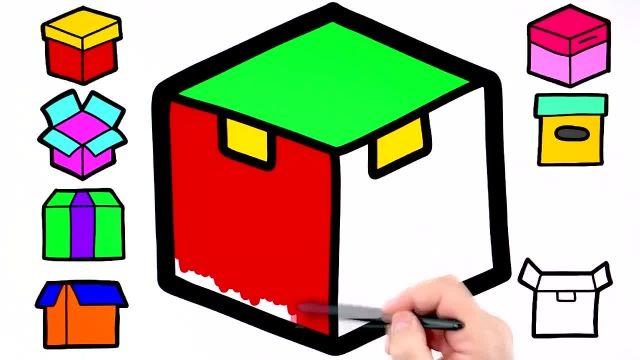 اموزش گام به گام کشیدن جعبه برای کودکان به همراه رنگ امیزی