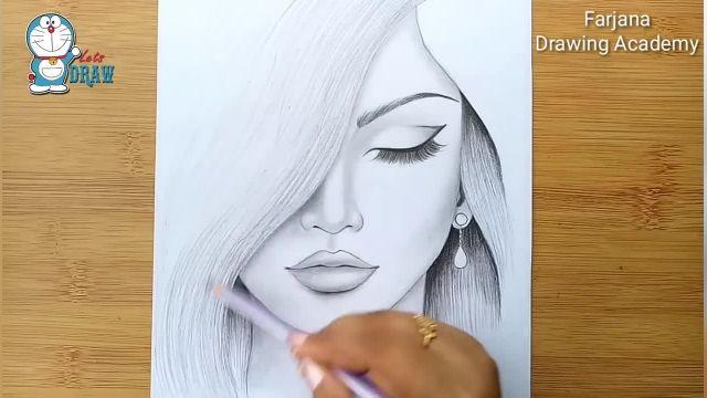 اموزش گام به گام طراحی با مداد (چهره دختر)