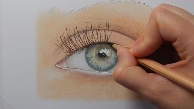 نحوه طراحی و رنگ امیزی چشم با مداد رنگی