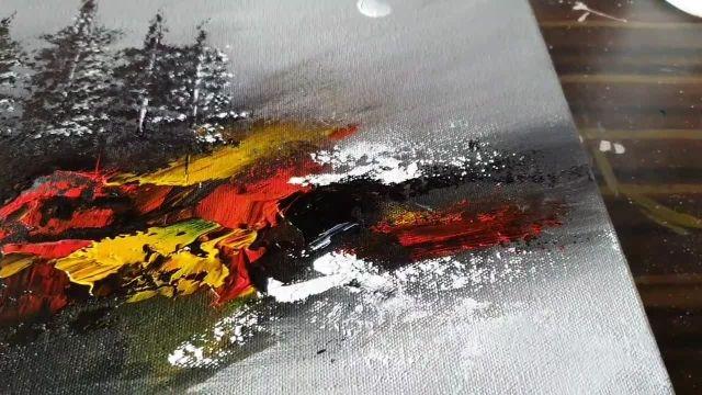 اموزش نقاشی ابستره با موضوع منظره پاییزی