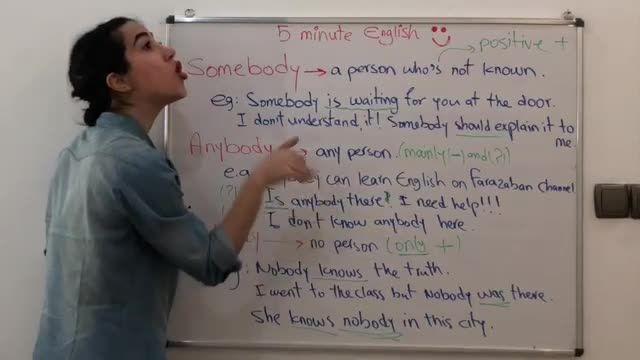 آموزش زبان انگلیسی در 5 دقیقه ! - نحوه استفاده از somebody و anybody و nobody