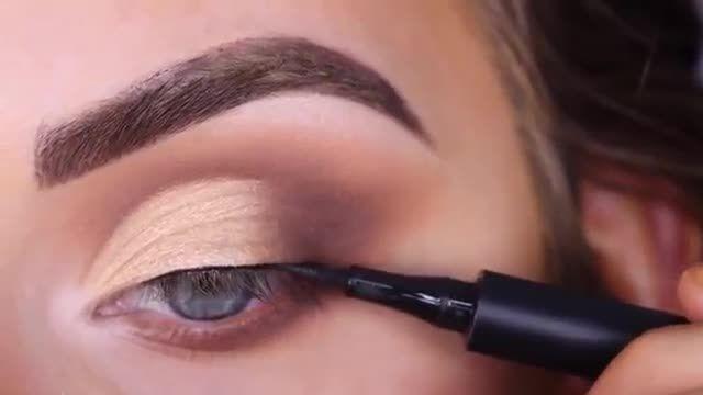 آموزش آرایش و میکاپ چشم - سایه چشم کرم قهوه ای ملایم