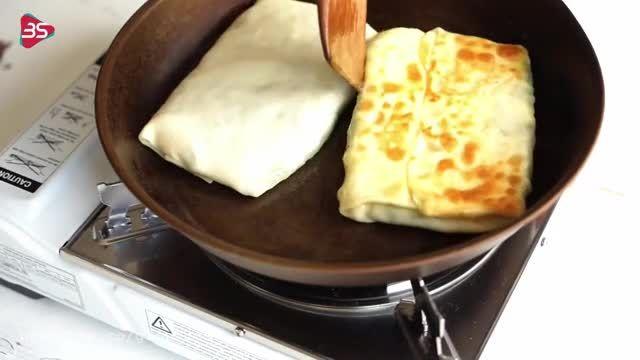 آموزش طرز تهیه گوزلمه ی اسفناج و پنیر ترکیه غذای اصیل و خوشمزه