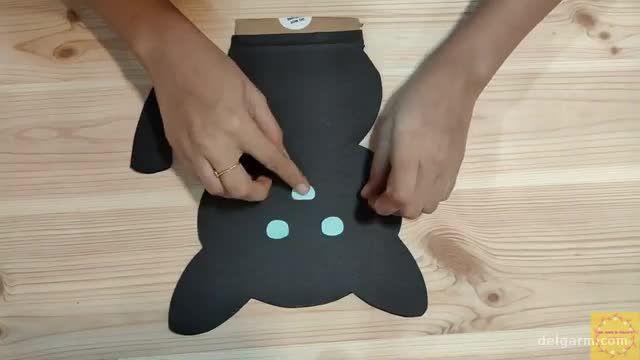 آموزش تصویری ساخت جامدادی رو میزی به شکل گربه سیاه !