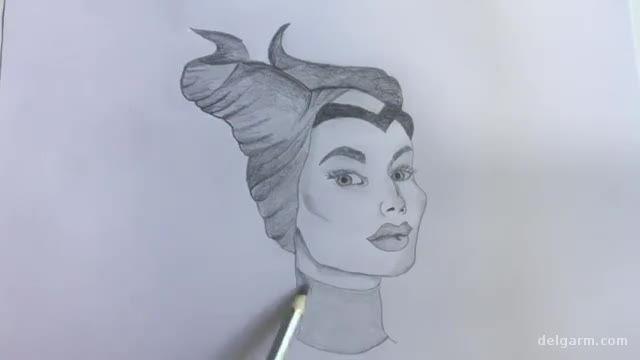 آموزش ویدیویی نقاشی کشیدن شخصیت مالفیسنت بسیار زیبا !