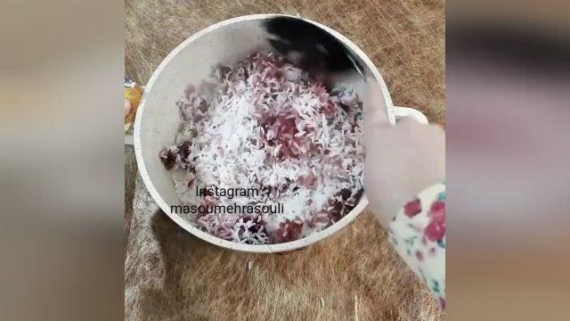 طرز تهیه آلبالو پلو بسیار خوشمزه و مقوی در منزل