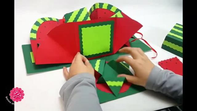 آموزش تصویری ساخت جعبه سوپرایز شب یلدا ، باکس شبیه هندوانه !