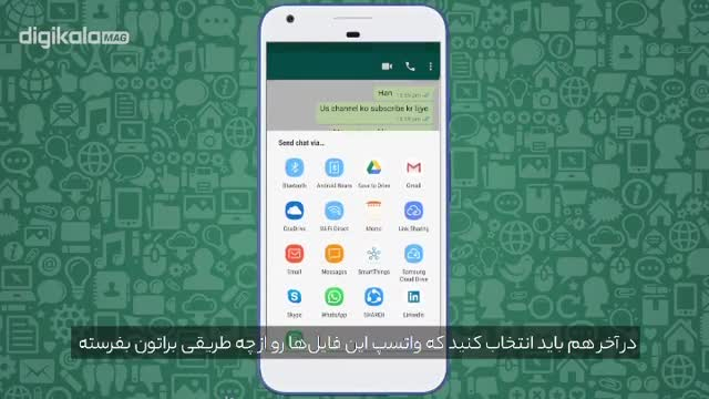 آموزش تصویری خارج کردن متن چت ها و فایل ارسال شده در واتساپ