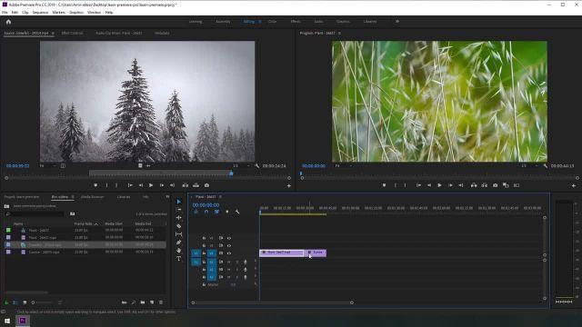آموزش تصویری بازکردن ویدیو ها و کات کردن در برنامه adobe premiere