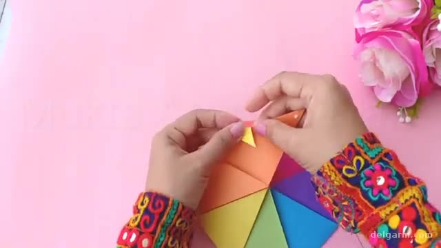 آموزش تصویری درست کردن کاردستی چتر اسباب بازی با کاغذ رنگی !