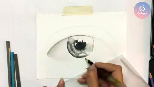 نقاشی چشم با مداد رنگی (گروه طراحی روشن)