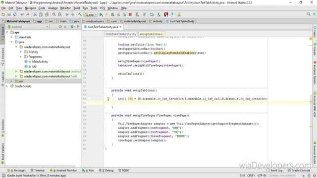 03 - آموزش Material Tab در اندروید استودیو - ساخت tab به همراه آیکون و متن