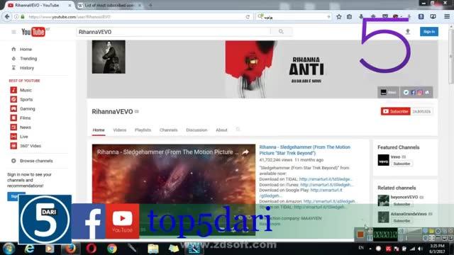 5 کانال یوتوب با بیشترین سابسکرایپ(subscribe)