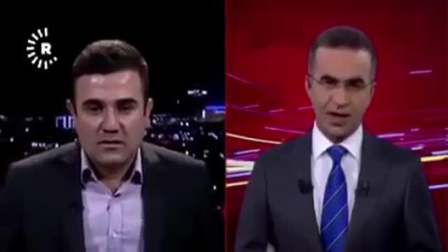 زمین لرزه هنگام پخش زنده تلویزیونی در شهر سلیمانیه عراق