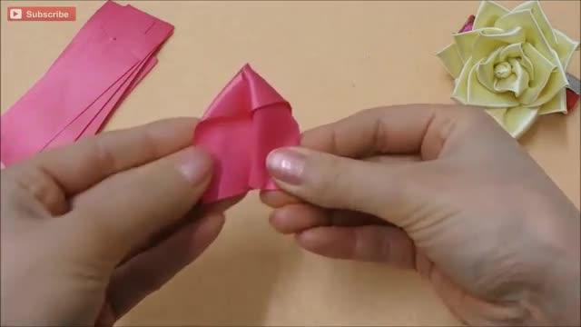 روبان ساتن DIY rose، tutorial آموزش روبان ساتن، چگونه، kanzashi