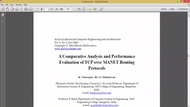 فیلم ارزیابی پروتکل TCP در MANET