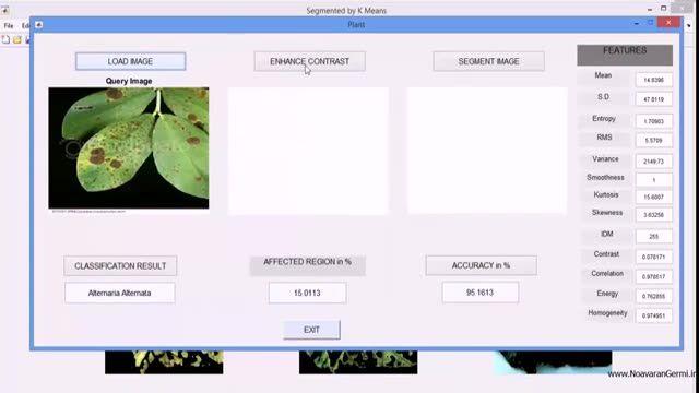 فیلم پروژه تشخیص و طبقه بندی بیماری گیاهان در MATLAB