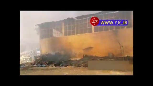 اطفای حریق انبار آتش گرفته در خیابان فداییان اسلام