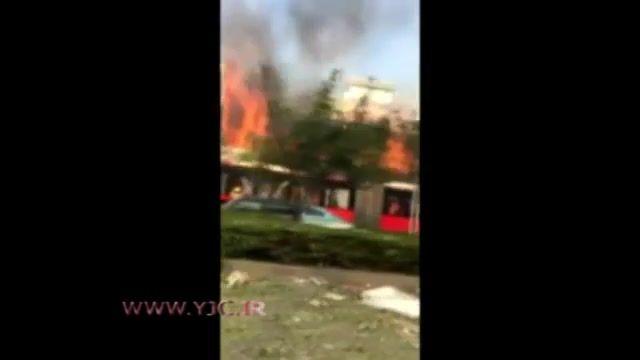 لحظه انفجار گاز در رستوران و آتش سوزی گسترده آن