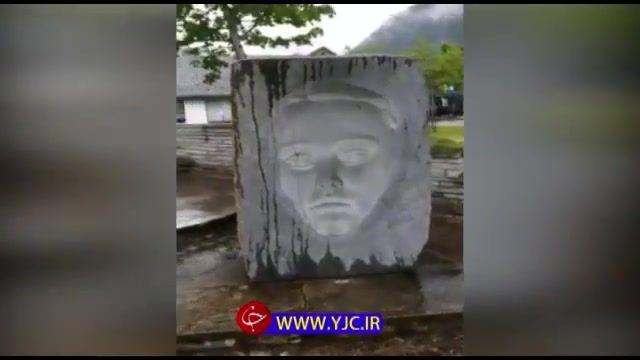 حکاکی چهره سه بعدی روی سنگ توسط هنرمند چینی