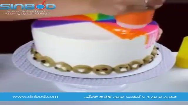 آموزش تزیین کیک ساده با رنگ های خوراکی