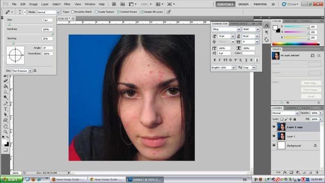 آموزش ویدیویی از بین بردن خال و جوش های صورت با فتوشاپ