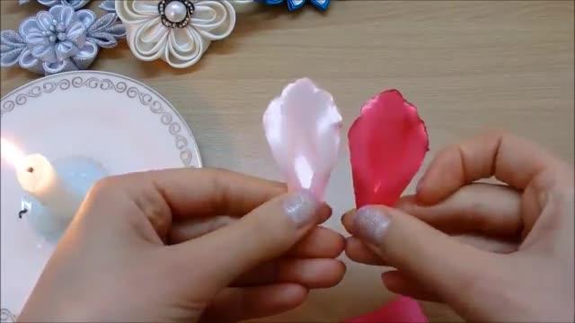 گلدان Kanzashi DIY، آموزش کانزشی، چگونگی ساخت گل روبان