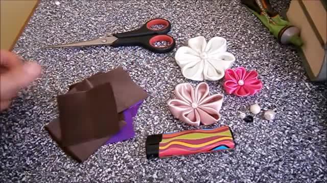 چگونگی ساخت گل های کانزشی، گل های روبان DIY، آموزش، kanzashi flores de cinta