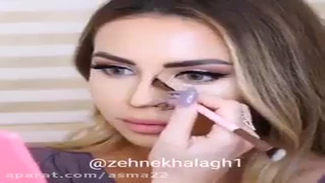 makeup nose  women highlight conturing  آموزش  میکاپ صورت و کانتورینگ بینی