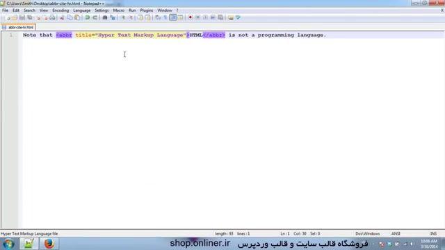 آموزش طراحی سایت با html   آشنایی با تگ های abbr, hr, cite, acronym