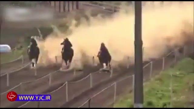 مرگ دردناک اسب در حین مسابقات سوارکاری و برخورد شدید اسب با زمین