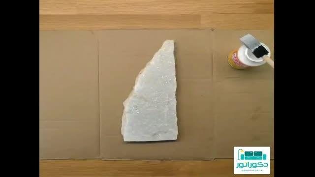 طریقه ساخت قاب عکس با سنگ و چسب