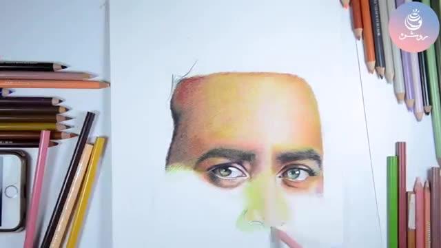نقاشی مداد رنگی چهره - گروه طراحی روشن
