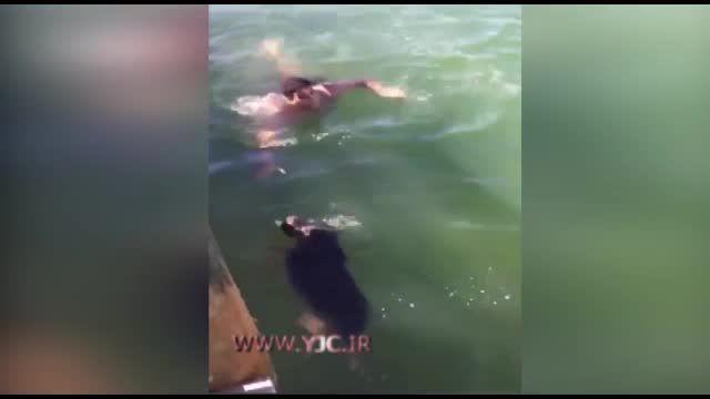 شنای مامور آتش نشانی برای نجات جان سگی در حال غرق شدن