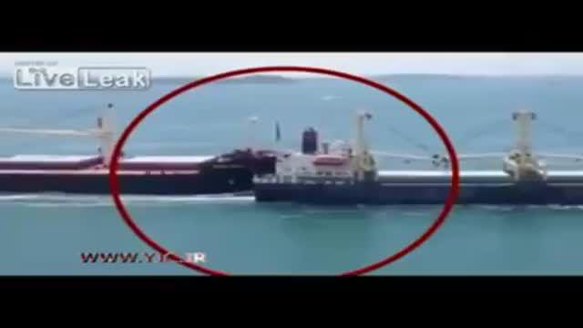 اولین فیلم از لحظه انفجار نفتکش ایرانی در آبهای چین